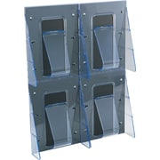 Deflecto Stand-Tall® Magazine Wall Rack, 4 Pockets, Clear, 23 1/2H x 18 1/4W x 2 7/8D