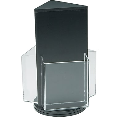 Three-Pocket Plastic Countertop 3-Sided Revolving Leaflet Display Rack, Clear