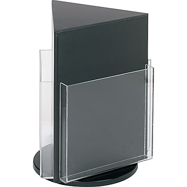 Three-Pocket Plastic Countertop Revolving Magazine Display Rack, Clear