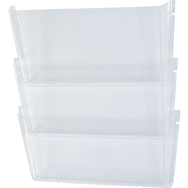 Deflecto® Unbreakable Clear 3-Pocket Wall File, Letter-Size DBS
