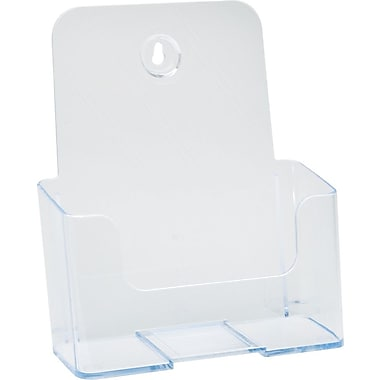 Deflecto Clear Rigid Brochure Holder, Clear, 7 3/4in.H x 6 3/4in.W x 3 3/4in.D