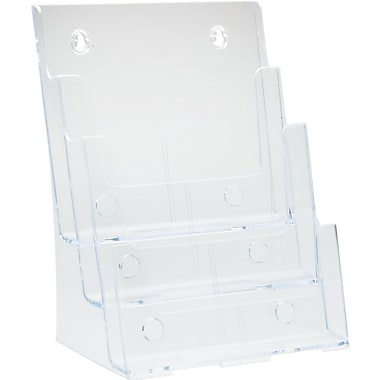 Deflecto Three-Tier Magazine Holder, Clear, 9 1/2