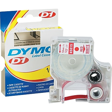 Dymo 45015 1/2in. D1 Label Maker Tape, Red on White