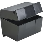 "Esselte Black Plastic Index Card File Box with Top Groove, 500-Card Capacity, 5"" x 8"""