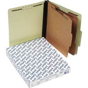 "Pendaflex® Pressboard Classification Top Tab Folders, 2 Partitions/6 Fasteners, Light Green, LETTER-size Holds 8 1/2"" x 11"""