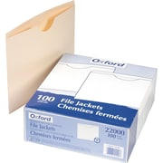 Pendaflex® Manila File Jackets with Reinforced Double Ply Tabs, Letter, Flat, 100/Box