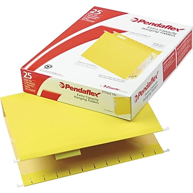 Pendaflex® Box-Bottom Colored Hanging Folders, Letter, Yellow, 2in. Expansion, 25/Box
