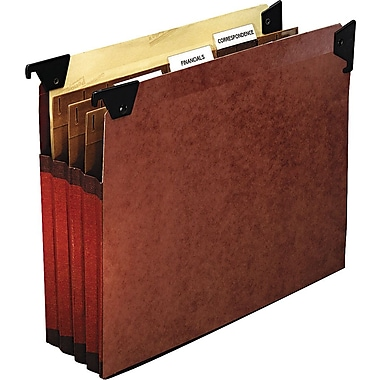 Pendaflex® Premium Reinforced File Pocket with Swing Hooks, 3 Dividers, Letter size, Redrope, 5/Box (45422)