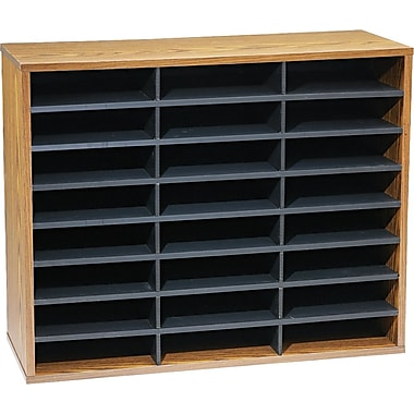 Fellowes 24 Compartment Literature Organizer, 23 3/8in. x 29in. x 11 7/8in., Medium Oak