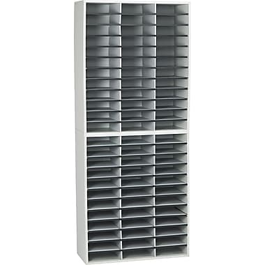 Fellowes® Wood 72 Compartment Literature Organizers, 59 1/8 in.x 29in. x 11 7/8in., Dove Gray