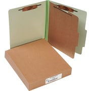 "ACCO Pressboard Classification Folder  4 Parts, 1 Center leaf partition, Leaf Green, Letter size Holds 8 1/2"" x 11"", 10/Pk"