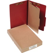 "ACCO Pressboard Classification Folder with Permclip® Fasteners, 4 Parts, Earth Red, Legal size Holds 8 1/2"" x 14"" Sheets, 10/Pk"