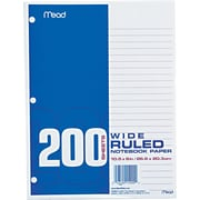 "Economical 16-lb. Filler Paper, 10 1/2"" x 8"", Wide Ruled, 200 Sheets/Pk"