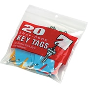 "Slotted Rack Key Ring Tags for Rack-Style Cabinets, 1 1/2""H, Assorted Colors, 20/Pack"