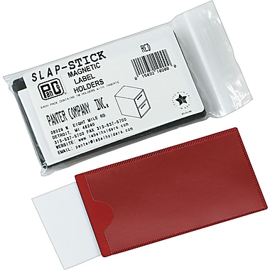 Magnetic Label Holders for File Cabinets and Bookcases, Red