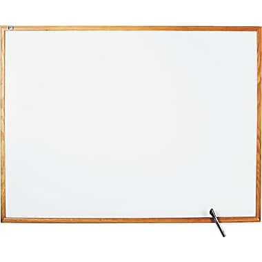 Quartet® Melamine Dry-Erase Board with Oak Finish Frame, 4' x 3'