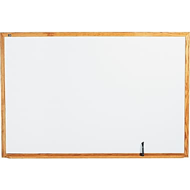 Quartet® Melamine Dry-Erase Board with Oak Finish Frame, 6' x 4'