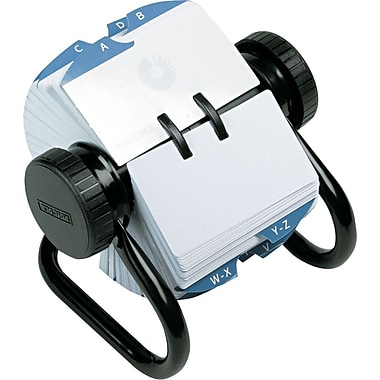 Rolodex Metal Open Rotary Card File, 2 1/4in. x 4in., Black, 500 Card Capacity