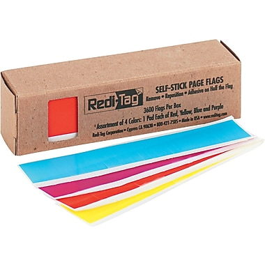 Redi-Tag® 1in. Rectangular Remove/Reusable Page Flags, Assorted Colors, Bluck Pack