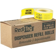 """Redi-Tag® Yellow """"Sign Here"""" Flag Refill Rolls, 6 Rolls"""