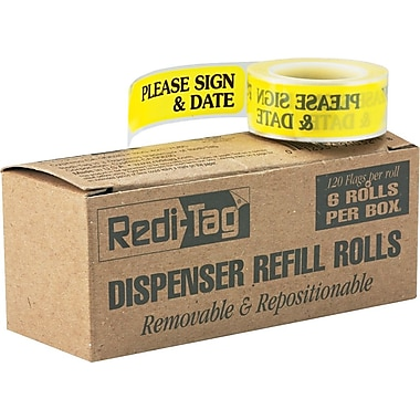 Redi-Tag® Red in.Please Sign & Datein. Flag Refill Rolls, 6 Rolls