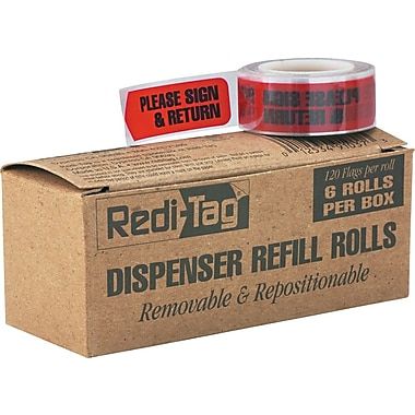 Redi-Tag® Red in.Please Sign & Returnin. Flag Refill Rolls, 6 Rolls