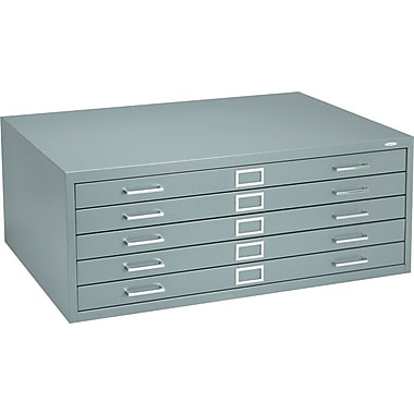 Safco 5-Drawer Steel Flat File Only, 16 1/2in.H x 40 3/8in.W x 29 3/8in.D, Gray