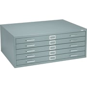 Safco 5-Drawer Steel Flat File Only, 16 1/2H x 40 3/8W x 29 3/8D, Gray