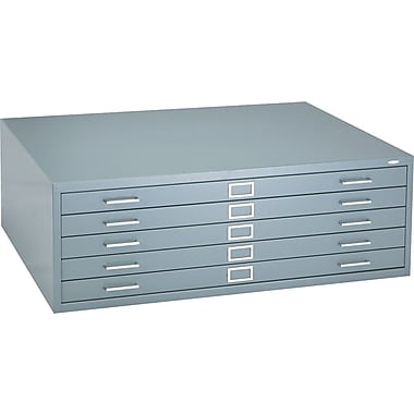 Safco 5-Drawer Steel Flat File Only, 16 1/2in.H x 46 3/8in.W x 35 3/8in.D, Gray