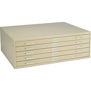 Safco 5-Drawer Steel Flat File Only, 16 1/2in.H x 46 3/8in.W x 35 3/8in.D, Sand