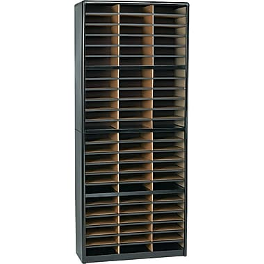 Safco® Value Sorter Literature Organizer, 72 Compartment, 32 1/4in. x 13 1/2in. x 75in., Black