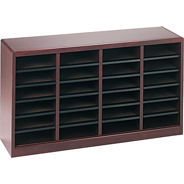 Safco E-Z STOR® 24 Compartment Wood Literature Organizer, 40in. x 11 3/4in. x 23in., Mahogany