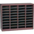 Safco E-Z STOR® 36 Compartment Wood Literature Organizer, 40in. x 11 3/4in. x 32 1/2in., Mahogany