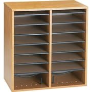 "Safco Adjustable Wood Literature Organizer, 16 Compartments, Medium Oak, 21""H x 19 1/2""W x 11 3/4""D"