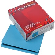 Smead Blue Straight Cut File Folders, LETTER-size Holds 8 1/2 x 11, 100/Box