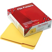Smead Yellow File Folders, 1/3 Tab Cut, Letter size, Holds 8 1/2 x 11, Box of 100