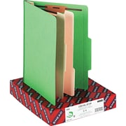 "Smead Top Tab Classification Folders, 6-Sections/2 Dividers, Green, LETTER-size Holds 8 1/2"" x 11"", 10/Bx"