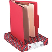 Smead Top Tab Classification Folders, Six-Sections, 2 Dividers, Red, 10/Bx
