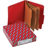 "Smead®  Pressboard Classification Folder SafeSHIELD® Fasteners, 3 Dividers, 3"" Exp, Letter Size, Bright Red, 10 per Box (14095)"