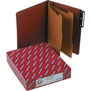 "Smead®  Pressboard Classification Folder with SafeSHIELD® Fasteners, 2 Dividers, 2"" Exp, Letter Size, Red, 10 per Box (14230)"