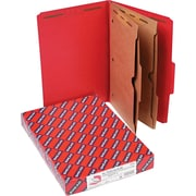 "Smead 2 Part Classification Folders with Pocket Dividers, Red, Legal,-size Holds 8 1/2"" x 14"", 10/Box"