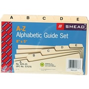 "Smead® Recycled Self Tab Card Guides, Alphabetical, Unruled, Manila, 5""H x 8""W, 25/St"