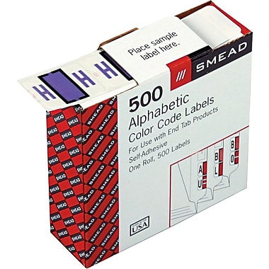 Smead® A-Z Color-Coded Bar-Style Letter in.Hin. End Tab Labels, Lavender, 1in.x1-1/4,in. 500 Labels/Roll
