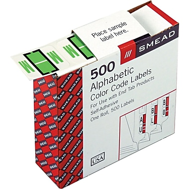 Smead® A-Z Color-Coded Bar-Style Letter in.Min. End Tab Labels, Light Green, 1in.x1-1/4,in. 500 Labels/Roll