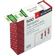 Smead® A-Z Color-Coded Bar-Style Letter M End Tab Labels, Light Green, 1x1-1/4, 500 Labels/Roll