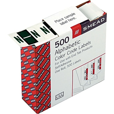 Smead® A-Z Color-Coded Bar-Style Letter in.Nin. End Tab Labels, Dark Green, 1in.x1-1/4,in. 500 Labels/Roll
