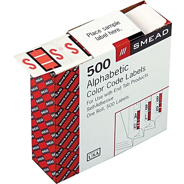 Smead® A-Z Color-Coded Bar-Style Letter in.Sin. End Tab Labels, Pink, 1in.x1-1/4,in. 500 Labels/Roll