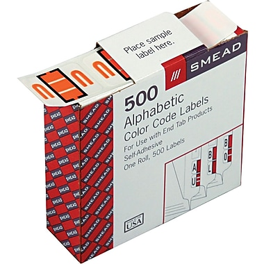 Smead® A-Z Color-Coded Bar-Style Letter in.Uin. End Tab Labels, Light Orange, 1in.x1-1/4,in. 500 Labels/Roll