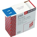 Numeric Labels, 250 Labels/Rolls, in.1in., Light Blue