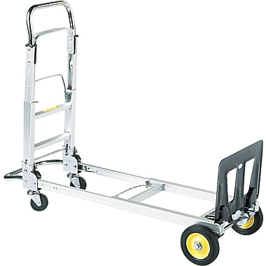 Safco Hide-Away™ Folding Collapsible Convertible Hand Truck, Silver